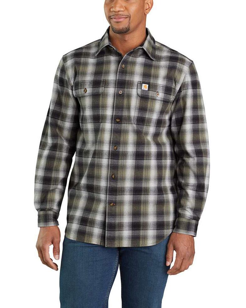 Carhartt Men's Hubbard Flannel Long Sleeve Work Shirt - Tall , Black, hi-res