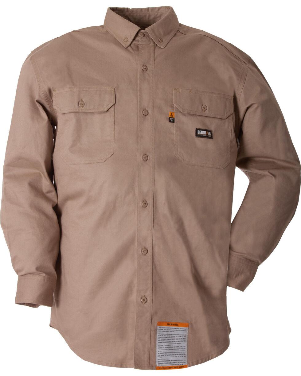 Berne Flame Resistant Button Down Work Shirt, Khaki, hi-res