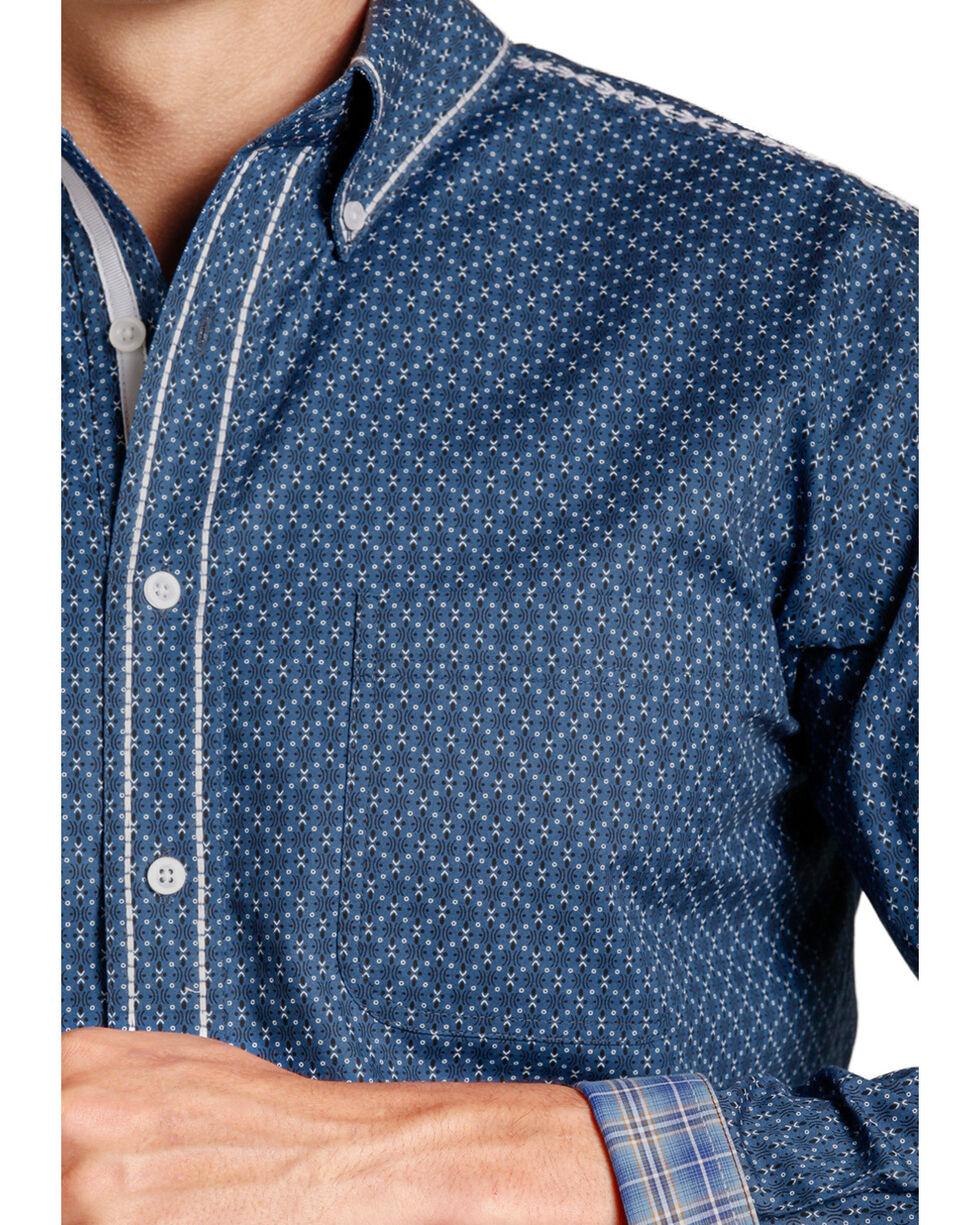 Rough Stock Men's Navy White Patterned Western Shirt , Blue, hi-res
