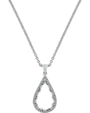 Montana Silversmiths Women's Laced Teardrop Necklace , Silver, hi-res