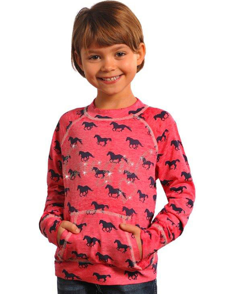 Rock & Roll Cowgirl Girls' Pink Horse Print Burnout Sweatshirt , , hi-res