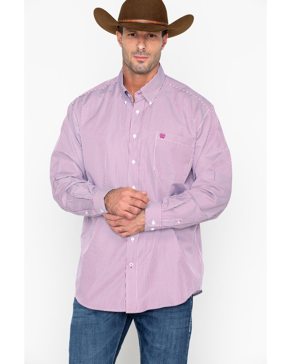 Cinch Men's Burgundy Stripe Long Sleeve Button Down Shirt, Burgundy, hi-res