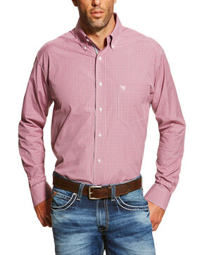 Ariat Men's Print Dakota Long Sleeve Shirt, Dark Pink, hi-res