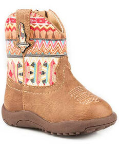 Roper Toddler Girls' Azteca Western Boots - Round Toe, Tan, hi-res