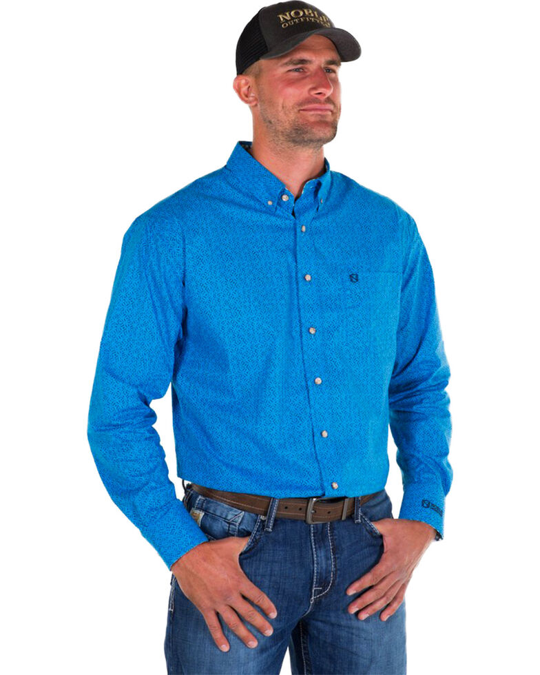 Noble Outfitters Men's Blue Generations Oxford Star Print Long Sleeve Western Shirt , Blue, hi-res