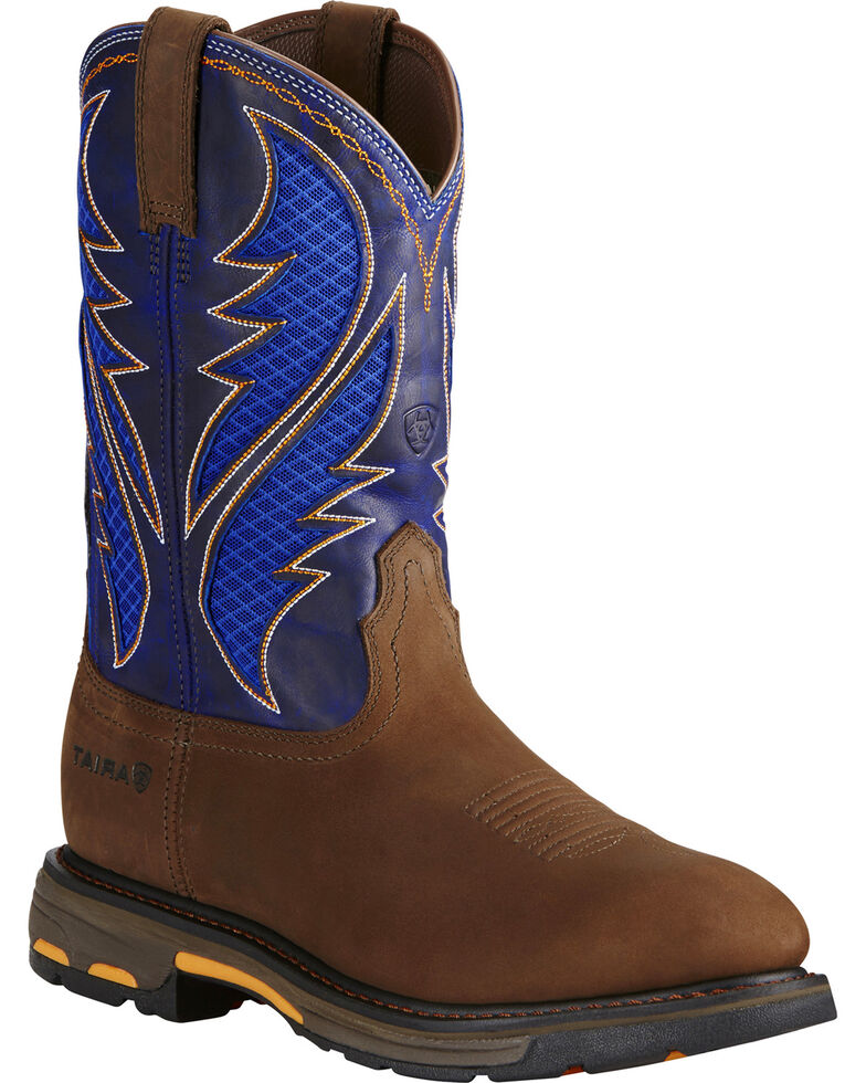 Ariat Men's VentTEK Cobalt Soft Toe Work Boots, Brown/blue, hi-res