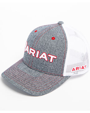 Ariat Men's Heather Grey Embroidered Logo Trucker Cap, Grey, hi-res