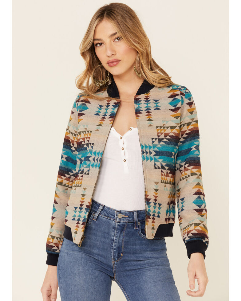 Pendleton Women's Pilot Rock Jacquard Zip-Front Bomber Jacket , Natural, hi-res