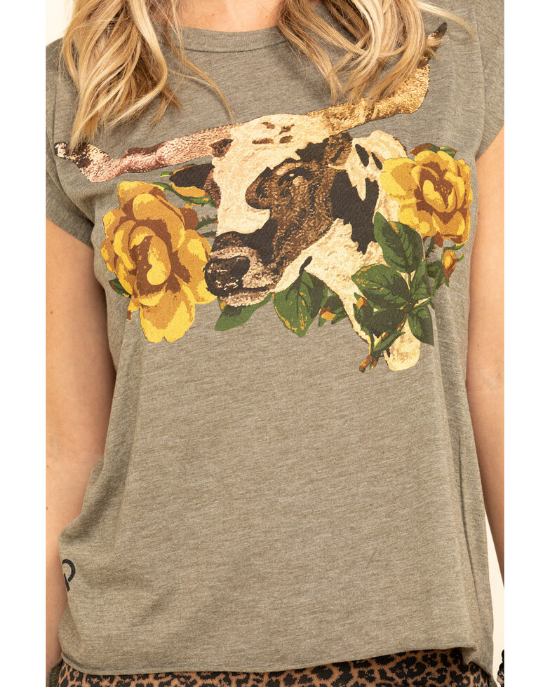 Rodeo Quincy Women's Libby Longhorn Rolled Cuff Tee  , Olive, hi-res