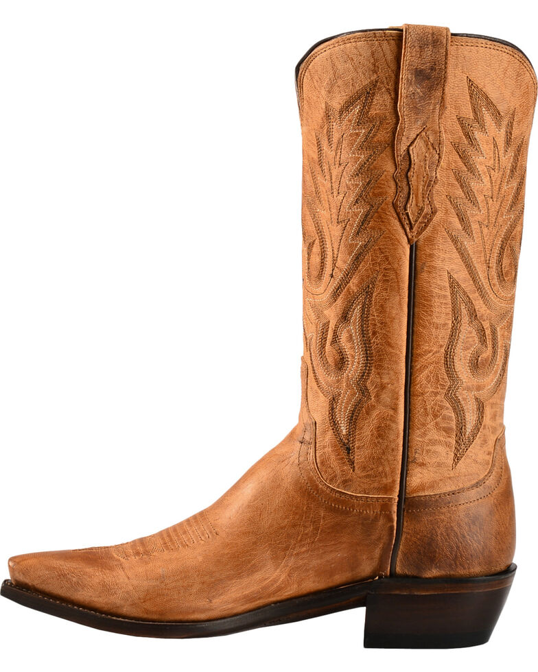 Lucchese Men's Lewis Snip Toe Mandras Goat Western Boots, Tan, hi-res