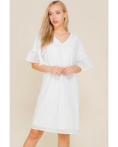 Polagram Women's White Eyelet Lace Dress , White, hi-res