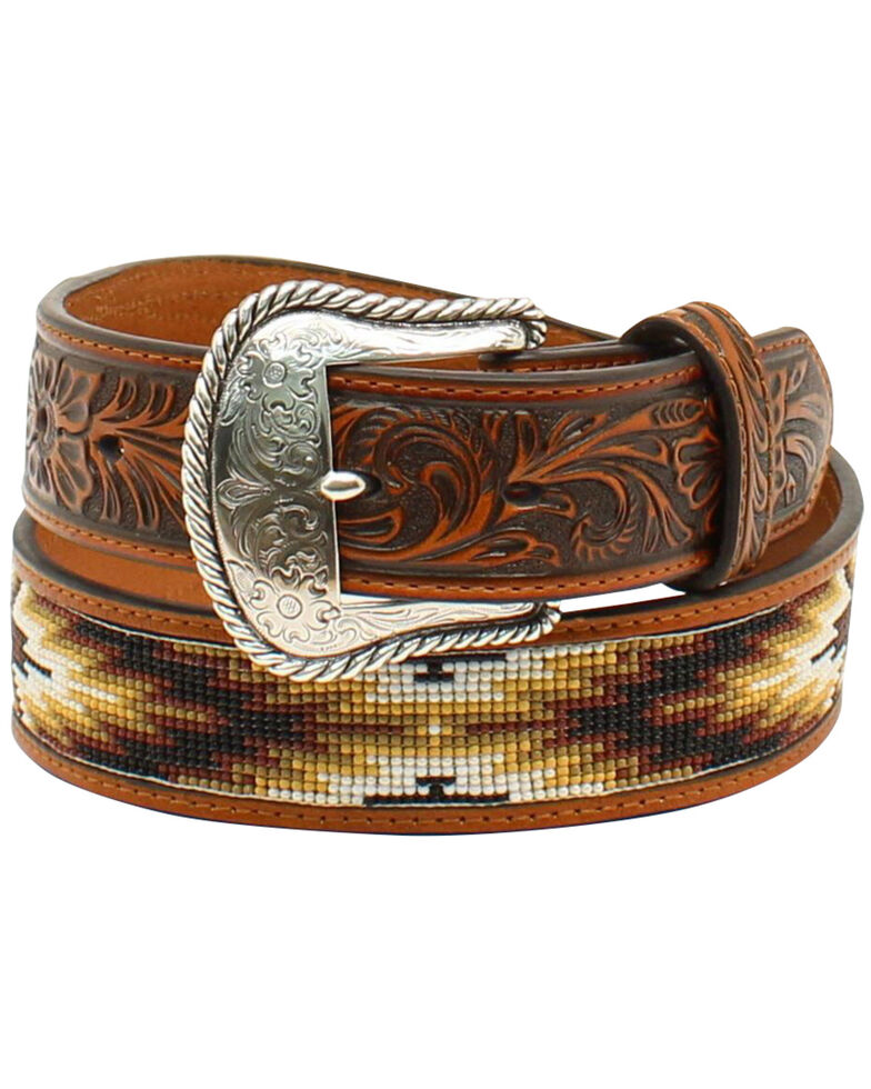Nocona Men's Beaded Inlay Belt, Tan, hi-res