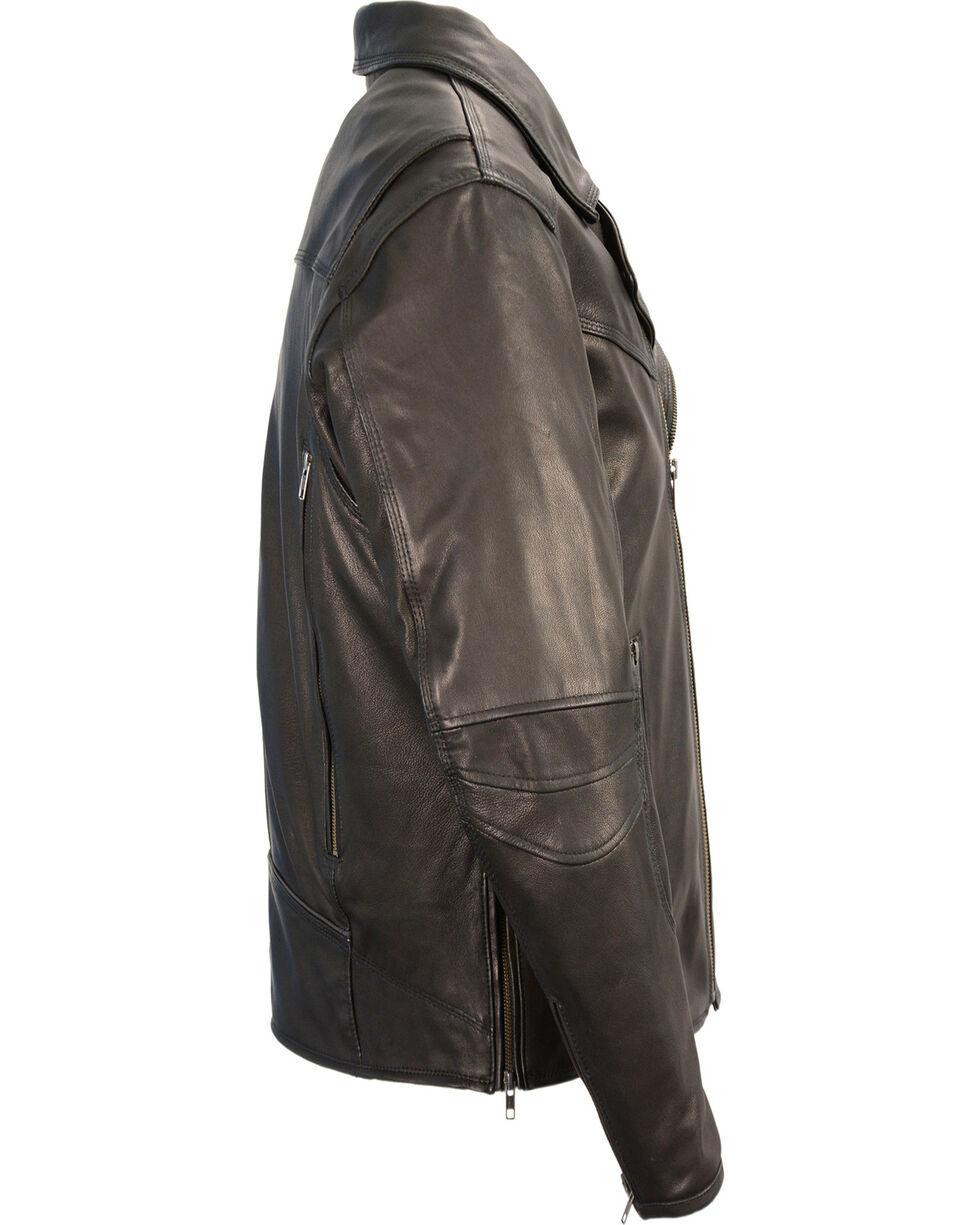 Milwaukee Leather Men's Black Lightweight Extra Long Biker Jacket - Big 4X , Black, hi-res