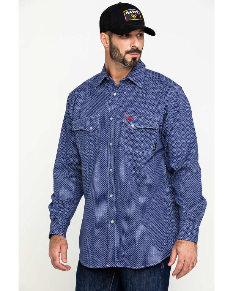 Ariat Men's FR Mantle Geo Print Long Sleeve Work Shirt - Big , Blue, hi-res