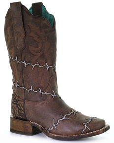 Corral Women's Barbed Wire Woven Western Boots - Square Toe, Brown, hi-res