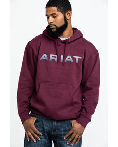 Ariat Men's Burgundy Logo Pullover Hoodie , Burgundy, hi-res