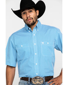 George Strait By Wrangler Men's Blue Star Geo Print Short Sleeve Western Shirt - Tall , Blue, hi-res