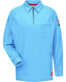 Bulwark Men's Blue iQ Series Flame Resistant Long Sleeve Polo - Big & Tall , Blue, hi-res