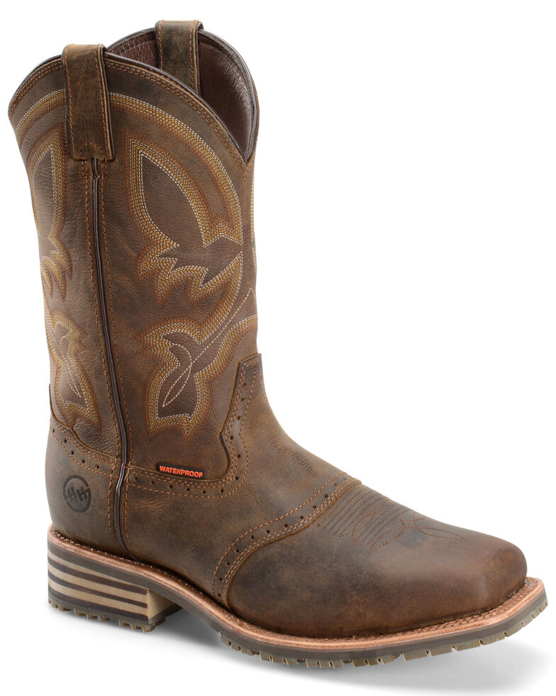 Double H Men's Safety Toe Western Work Boots, Brown, hi-res