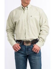 Cinch Men's White Plaid Long Sleeve Western Shirt , White, hi-res