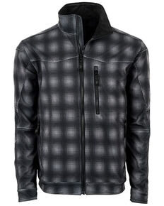 STS Ranchwear Boys' Youth Perf Plaid Softshell Jacket, Black, hi-res