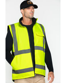 Hawx Men's Reversible Reflective Work Vest, Yellow, hi-res
