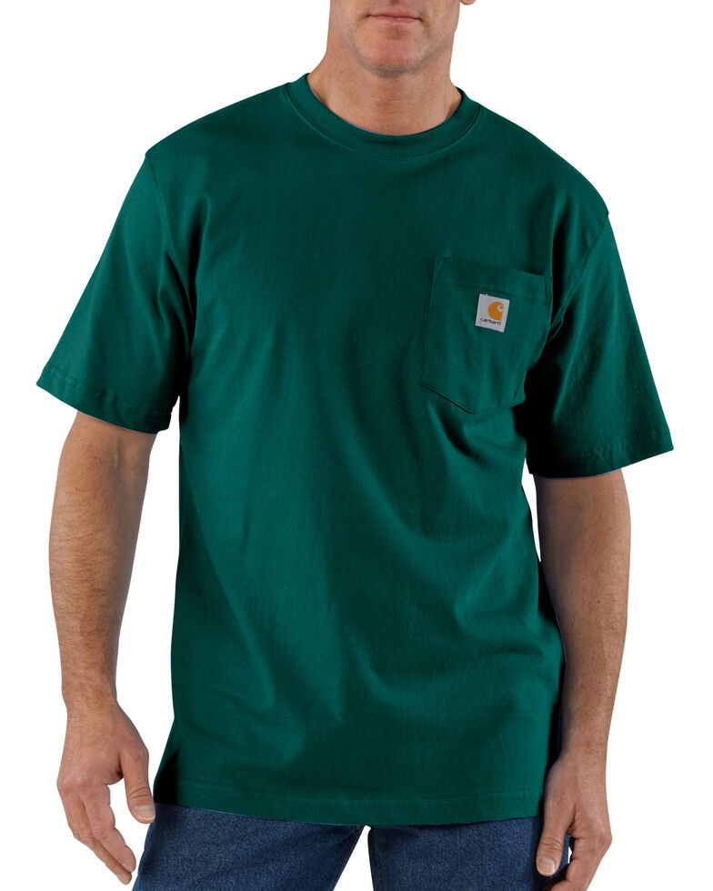 Carhartt Men's Solid Pocket Short Sleeve Work T-Shirt, Green, hi-res