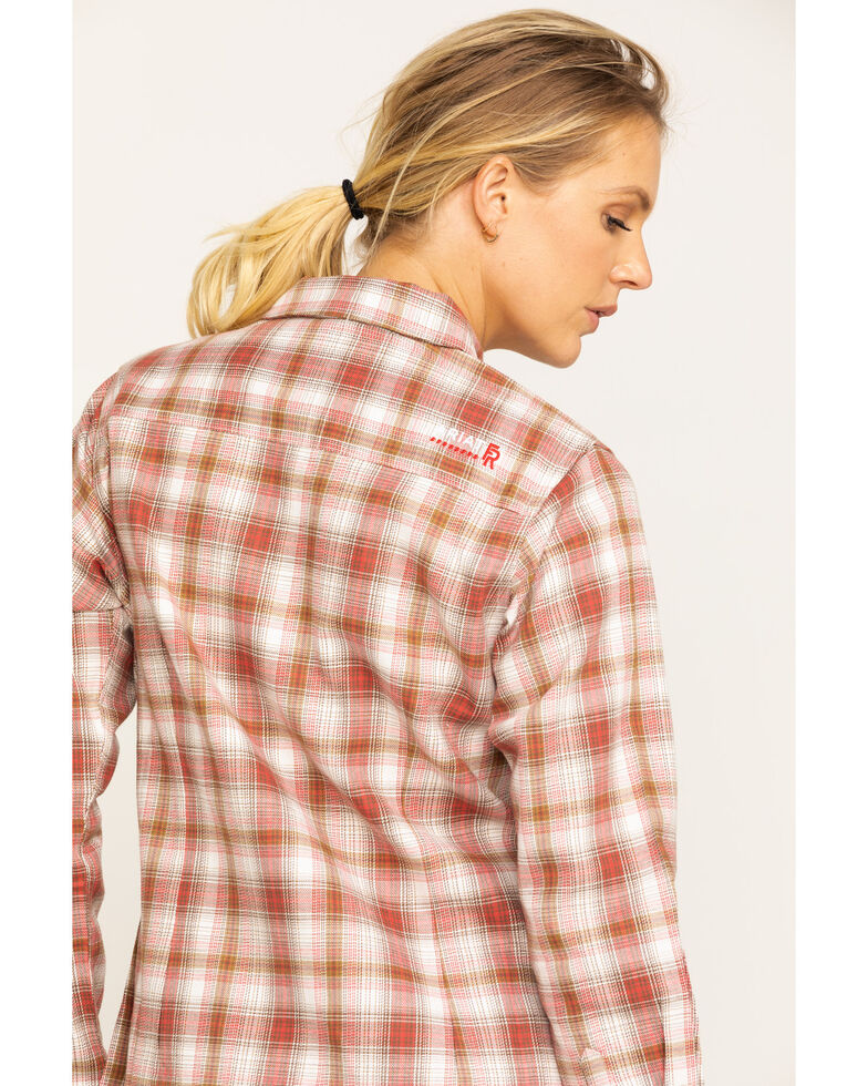 Ariat Women's FR Orange Victoria Plaid Long Sleeve Work Shirt , Orange, hi-res