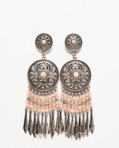 Shyanne Women's Moonlit Floral Concho Fringe Earring, Silver, hi-res