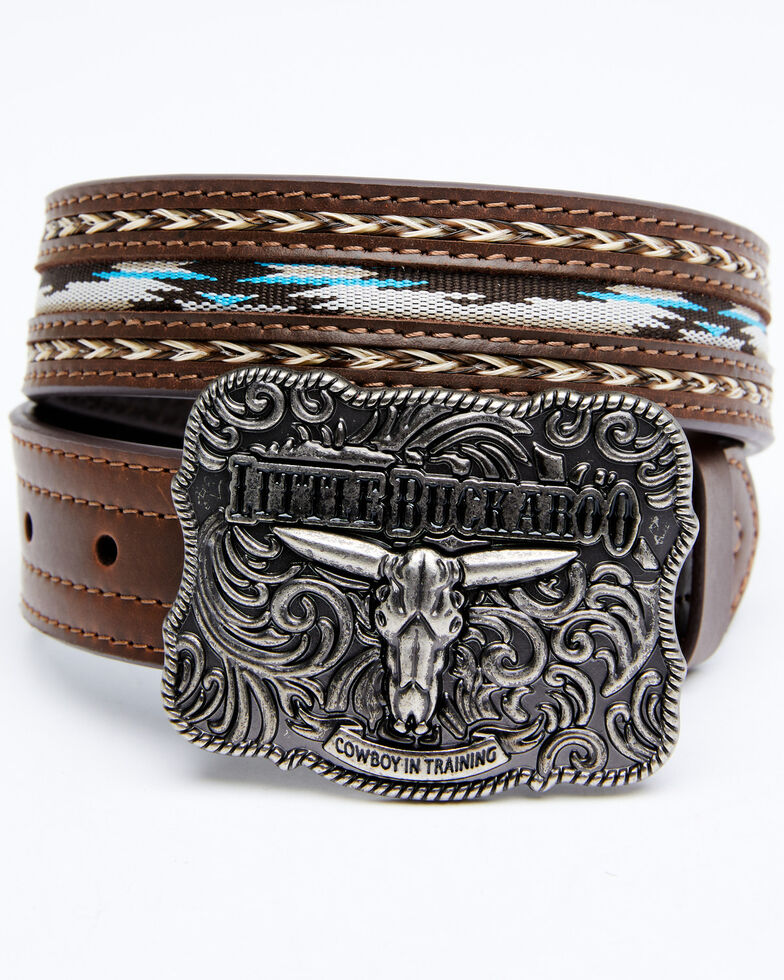Cody James Boys' Lil Buckaroo Brown Ribbon Belt, Brown, hi-res