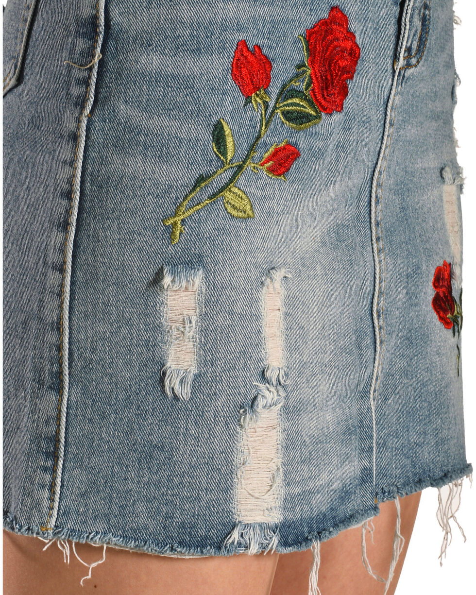 Sage the Label Women's Floral Embroidered Denim Skirt, Blue, hi-res