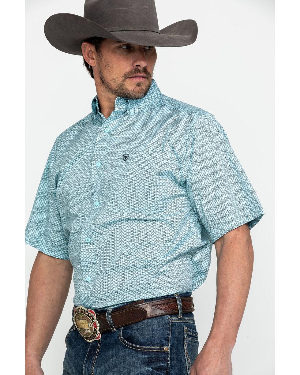 Ariat Men's Edenshaw Floral Print Stretch Short Sleeve Western Shirt , Turquoise, hi-res