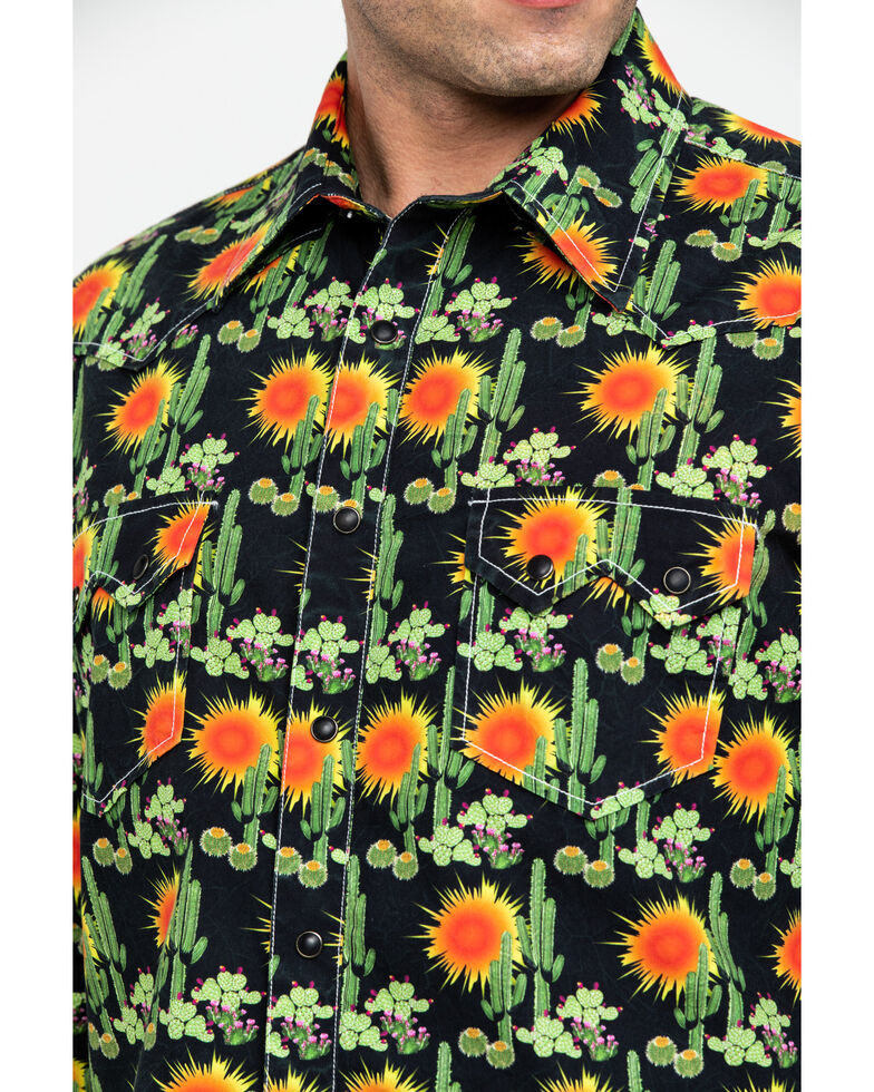 Dale Brisby Men's Washed Cactus Print Long Sleeve Western Shirt , , hi-res