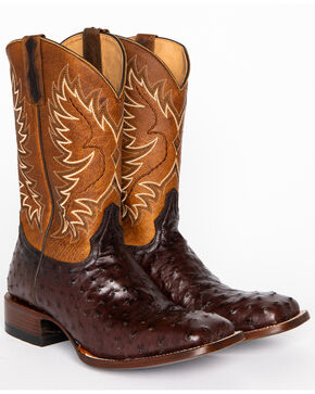Cody James® Men's Ostrich Tobacco Exotic Boots, Tobacco, hi-res