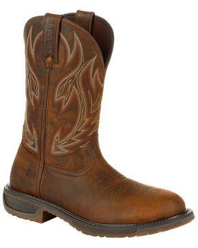 Durango Men's WorkHorse Western Work Boots - Steel Toe , Brown, hi-res