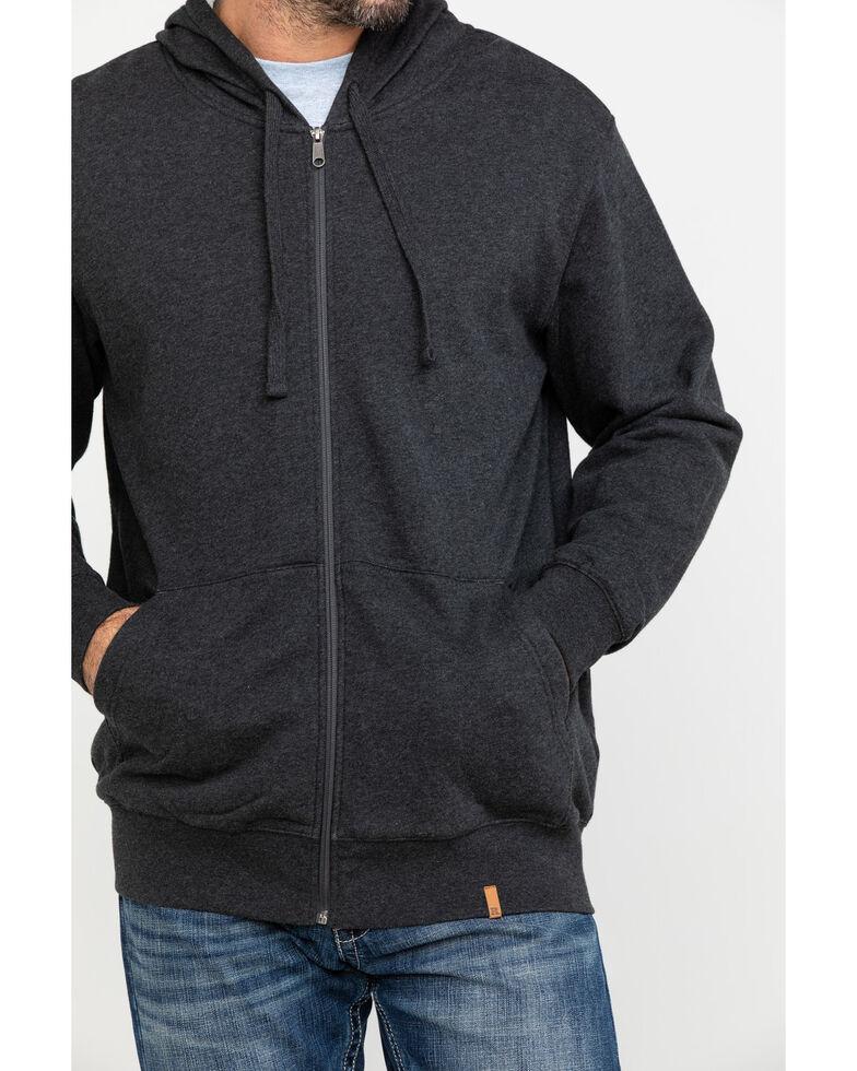 Wrangler Riggs Men's Heather Black Terry Solid Full Zip Work Hooded Jacket , Black, hi-res