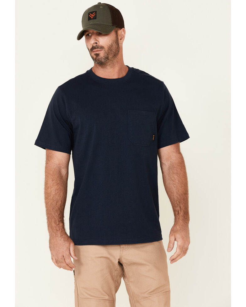 Hawx Men's Solid Navy Forge Short Sleeve Work Pocket T-Shirt - Tall, Navy, hi-res