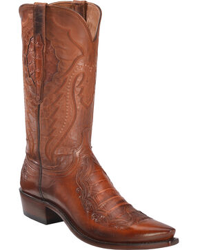 Lucchese Men's Bryson Peanut Caiman Inlay Western Boots - Snip Toe , Brown, hi-res
