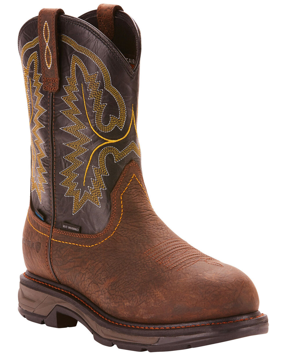 Ariat Men's Dark Brown Waterproof Workhog XT Pull-On Boots - Carbon Toe , Brown, hi-res