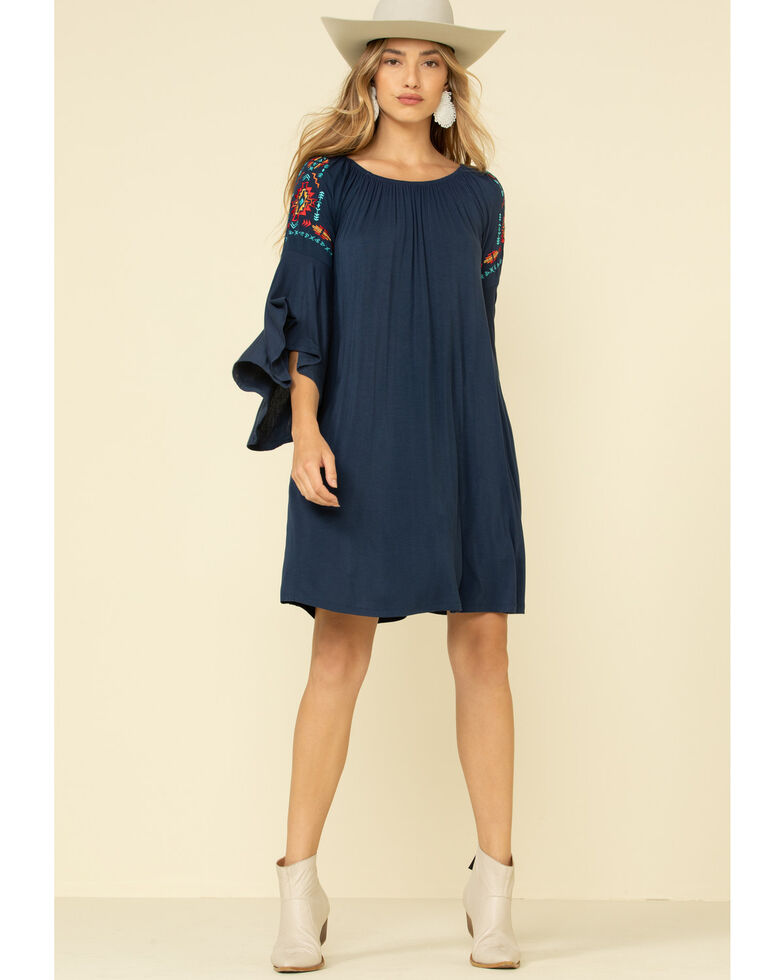White Label by Panhandle Women's Peasant Bell Sleeve Dress, , hi-res