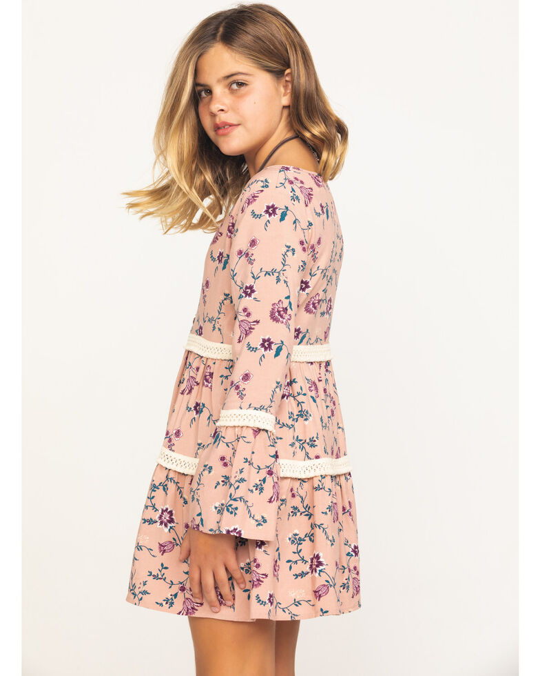 Shyanne Girls' Pink Floral Tiered Peasant Dress, Pink, hi-res