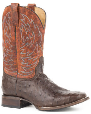 Roper Men's Diesel Embossed Ostrich Cowboy Boots - Square Toe, Brown, hi-res