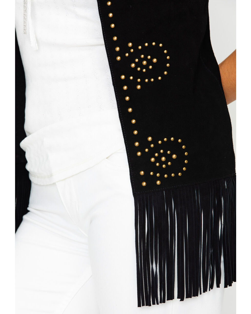 Idyllwind Women's Easy Rider Studded Fringe Vest, Black, hi-res