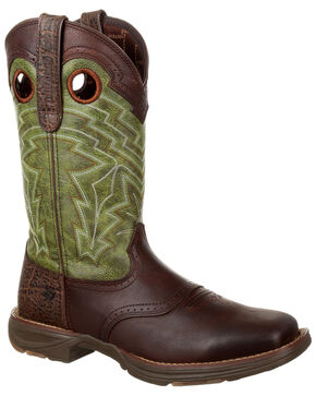 Durango Men's Ultralite Faux Elephant Western Saddle Boots - Square Toe, Chocolate, hi-res