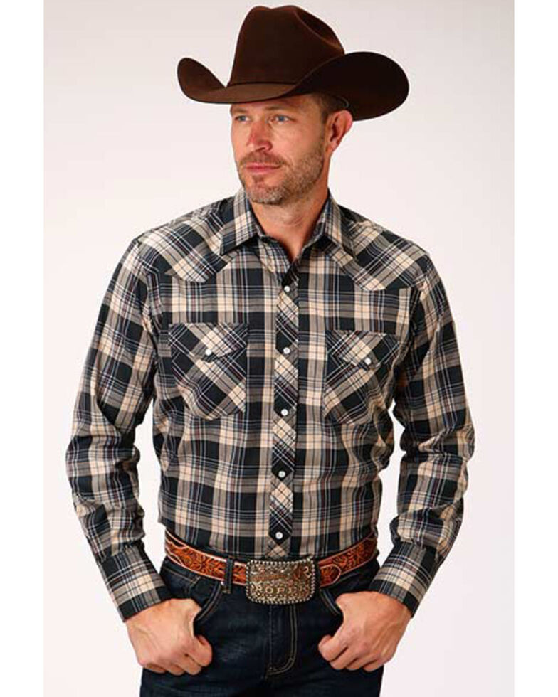 Roper Men's Black Classic Small Plaid Long Sleeve Western Shirt , Black, hi-res