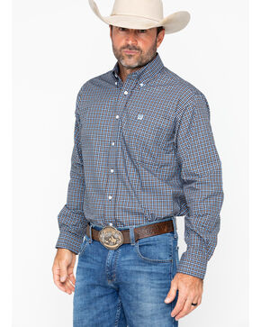 Cinch Men's Plaid Long Sleeve Western Shirt, Navy, hi-res