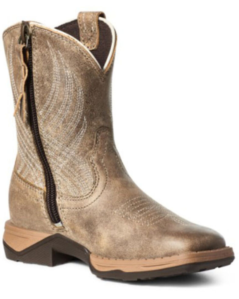 Ariat Boys' Anthem Western Boots - Square Toe, Brown, hi-res