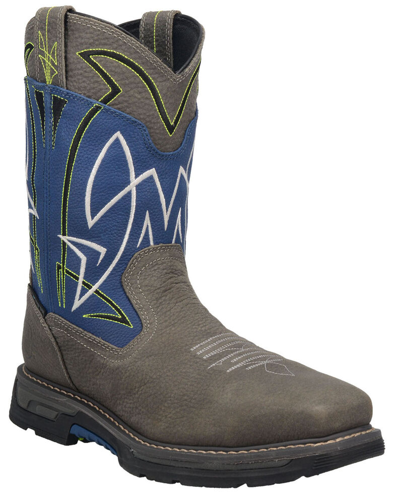 Dan Post Men's Storm Surge Waterproof Western Work Boots - Broad Square Toe, Blue, hi-res