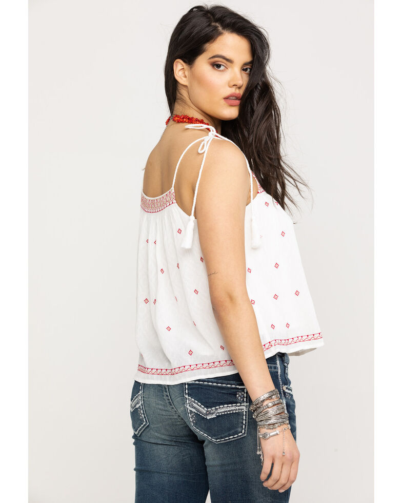 Miss Me Women's White Aztec Embroidered Tie-Up Strap Tank Top, White, hi-res