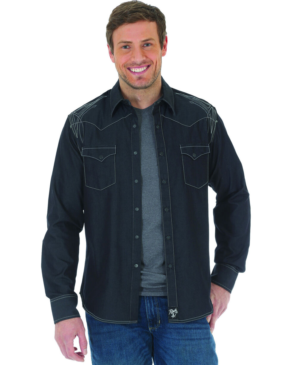 Rock 47 by Wrangler Men's Black Embroidered Long Sleeve Snap Shirt - Big & Tall, Black, hi-res